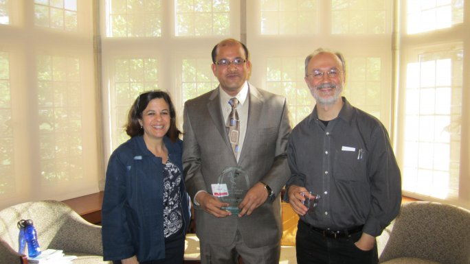 Photo from ceremony: Professor Nancy Berg, Professor Mohammad Warsi, and Professor Ahmet Karamustafa
